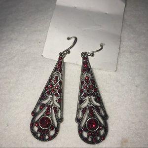 Victorian Wine Ruby Red Gem Silver Dangly Earrings